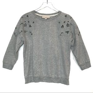 Loft Embroidered Cut Out 3/4 Sleeve Sweatshirt M